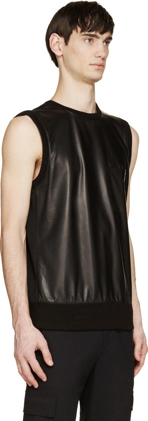 35ca8d70 Helmut Lang Black Bonded Leather Muscle Shirt in Black for Men - Lyst