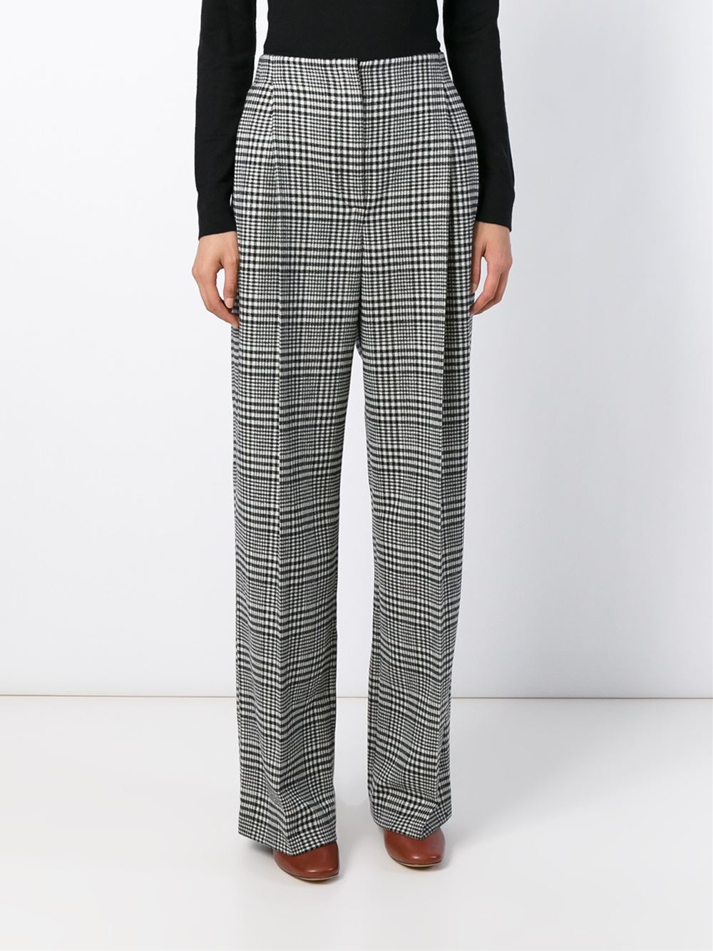 Lanvin Houndstooth Check Trousers In Black Black And Other Lyst