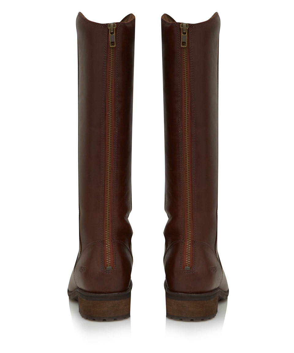 Ugg Brown Leather Seldon Flat Knee High Boots in Brown | Lyst