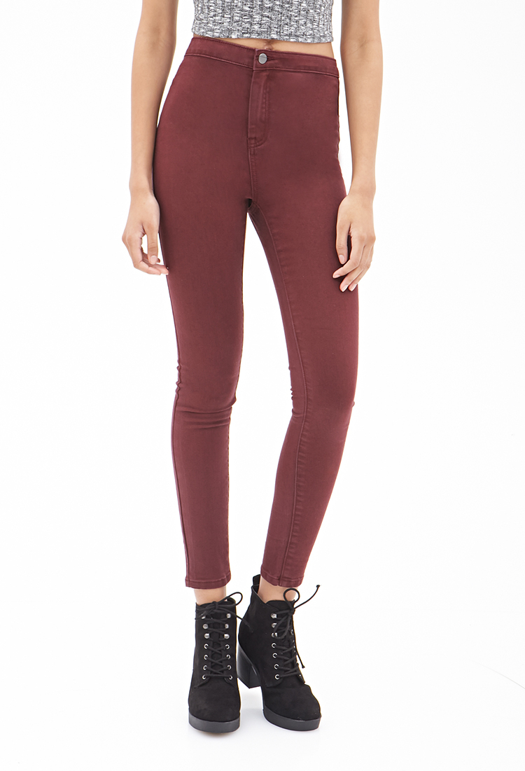 Gallery. Women's High Waisted Jeans - Forever 21 High-waisted Skinny Jeans In Purple Lyst