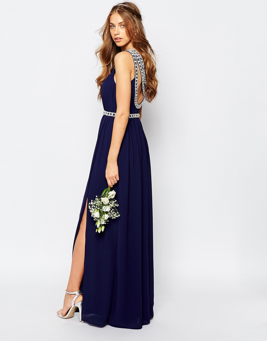 Tfnc london wedding embellished maxi dress in blue lyst for Navy maxi dresses for weddings