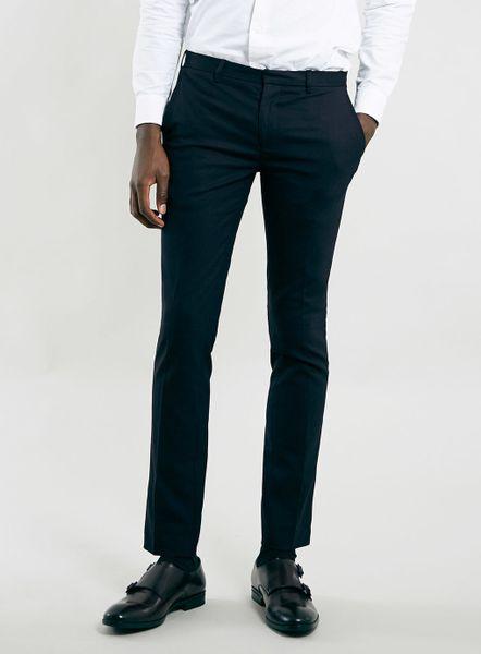 Topman Navy Ultra Skinny Dress Pants In Blue For Men Dark