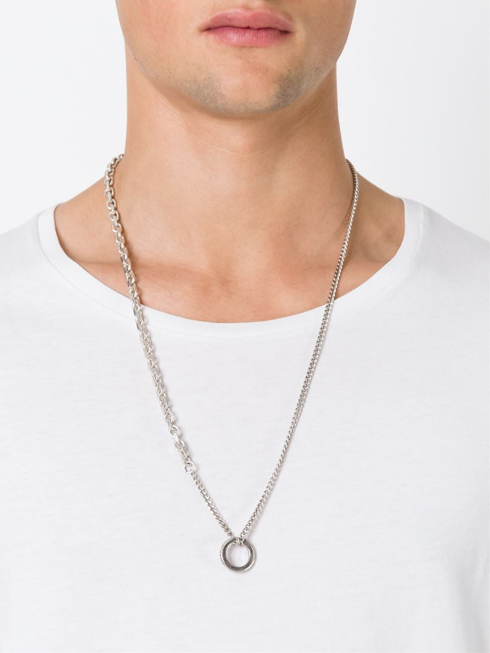 Lyst Diesel Ring Pendant Necklace In Metallic For Men