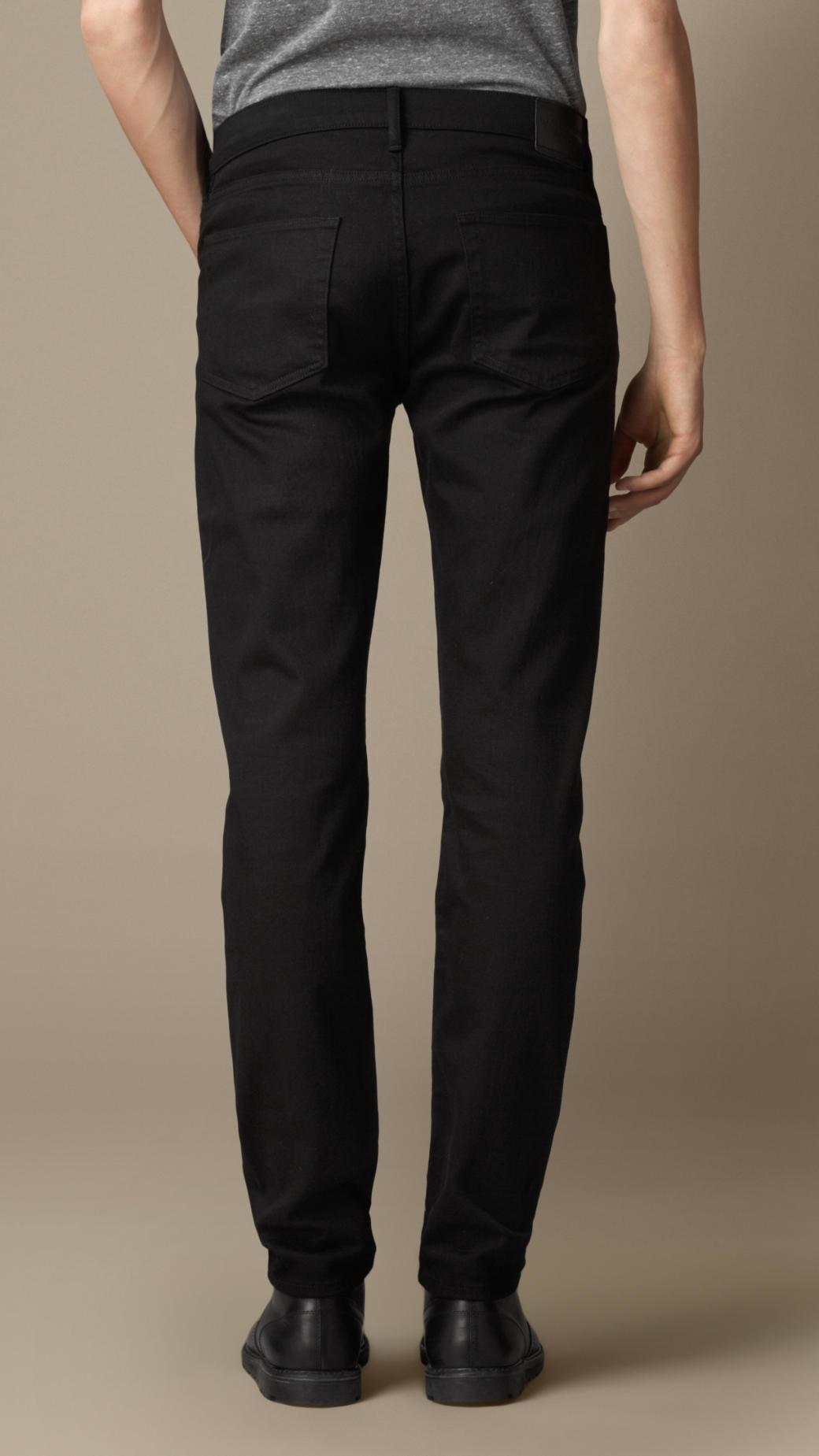 0aae9f7f5de24 Lyst - Burberry Slim Fit Deep Black Jeans in Black for Men