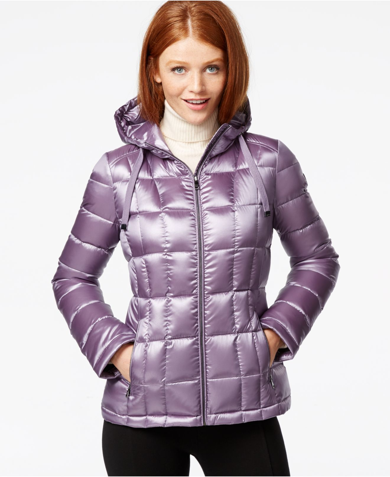 Calvin Klein Petite Packable Hooded Puffer Jacket In