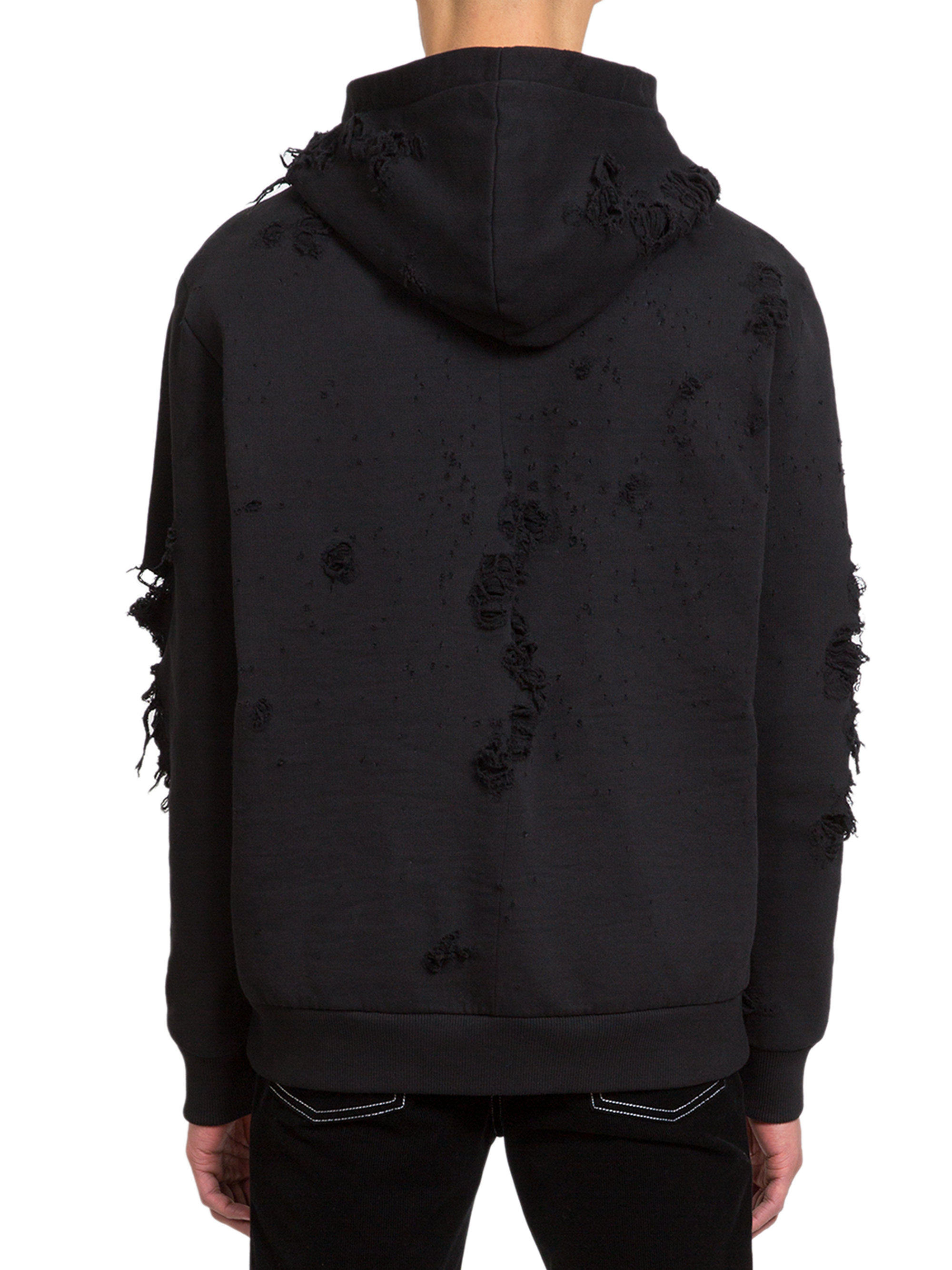 Lyst givenchy logo hole hooded sweatshirt in black for men for Mens dress shirts with cufflink holes