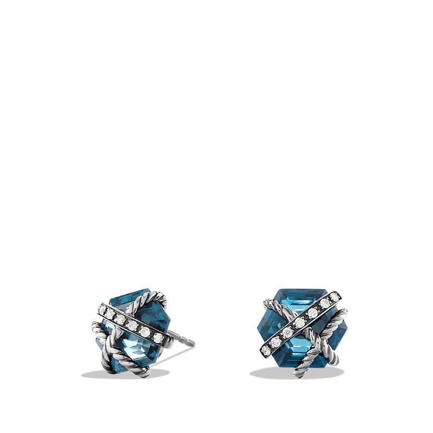 david yurman cable wrap earrings with hton blue topaz