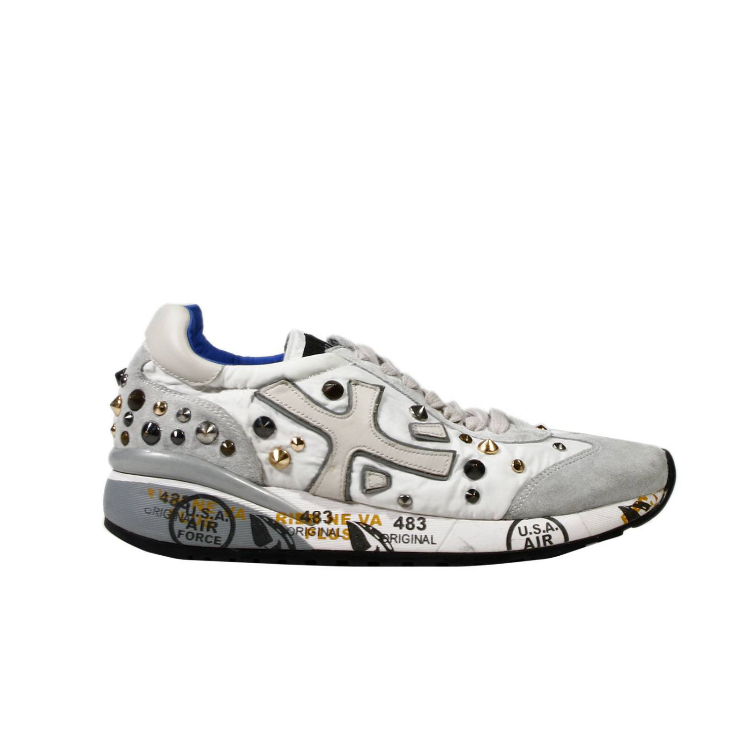 premiata shoes sneaker suede canvas with studs in gray