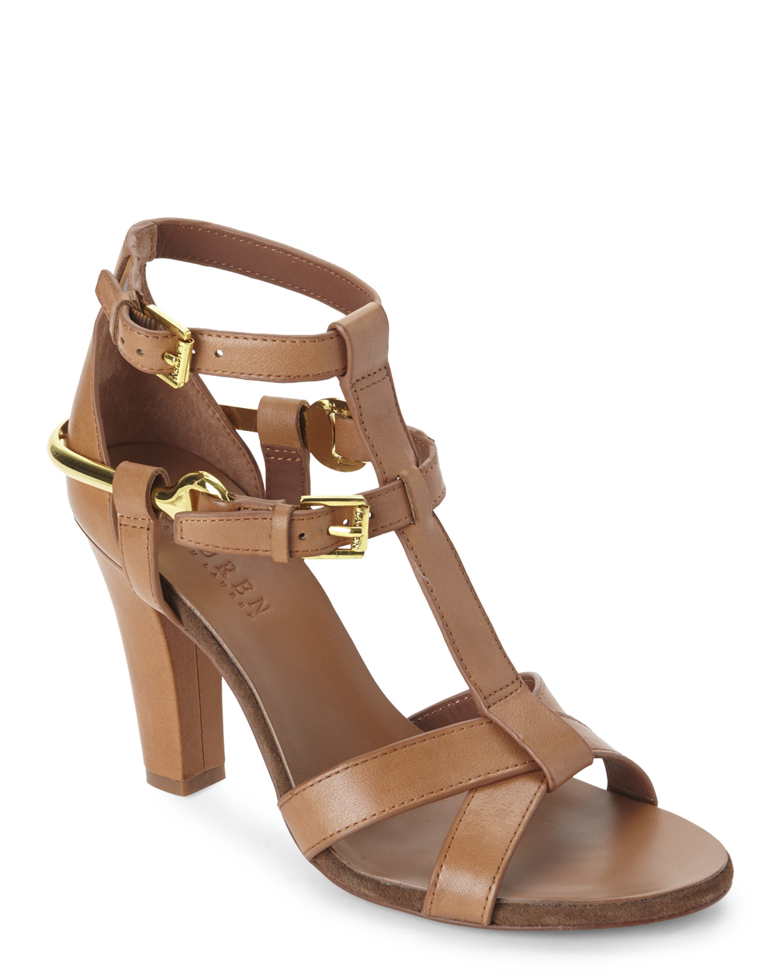 5f350771058875 Lyst - Ralph Lauren Tan Leena Vachetta Leather Sandals in Brown