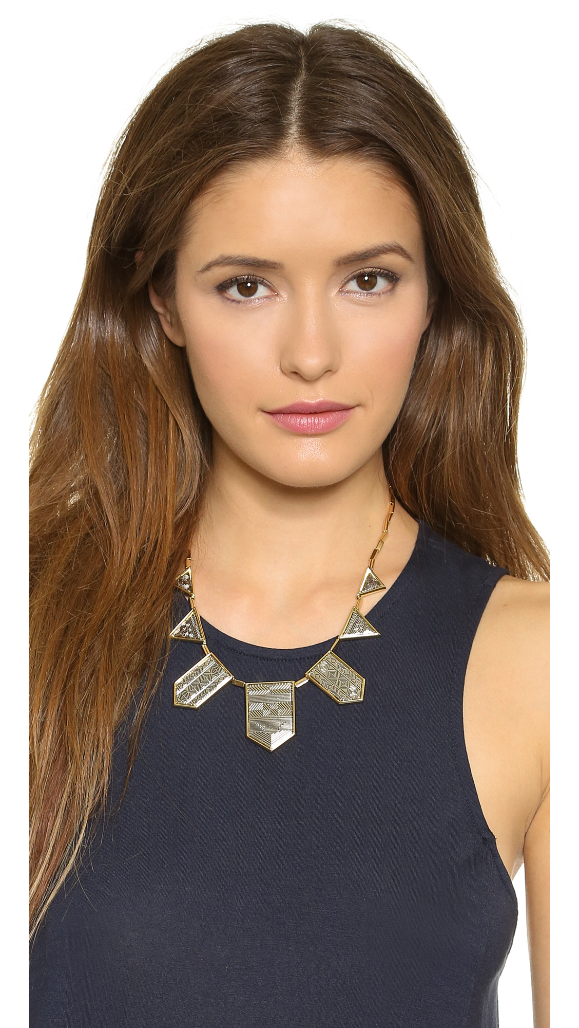 House Of Harlow Classic Station Pyramid Necklace in Metallic Gold P0Teqt