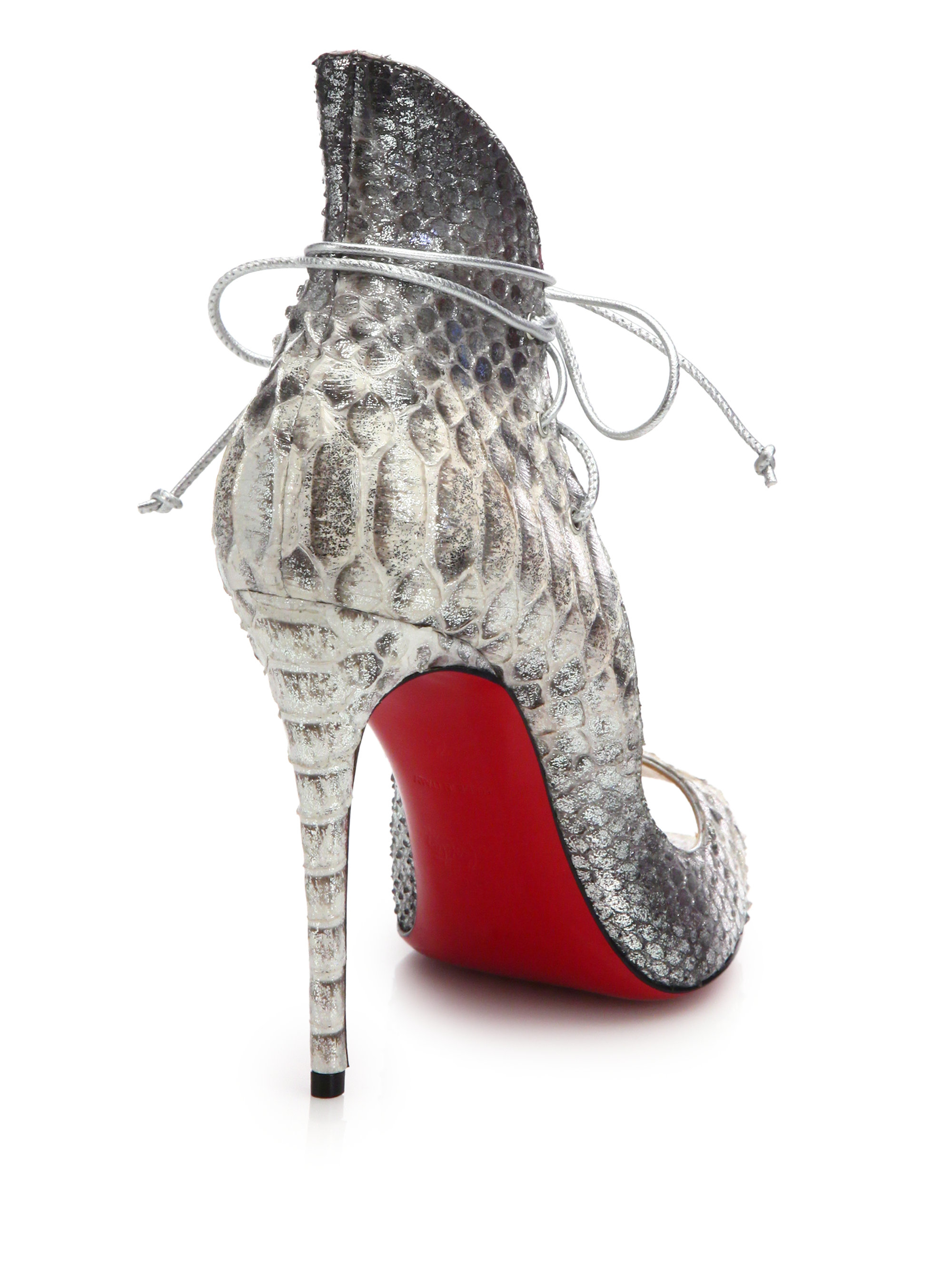 ed749370b70 Lyst - Christian Louboutin Megavamp Python-Embossed Leather Pumps in Gray