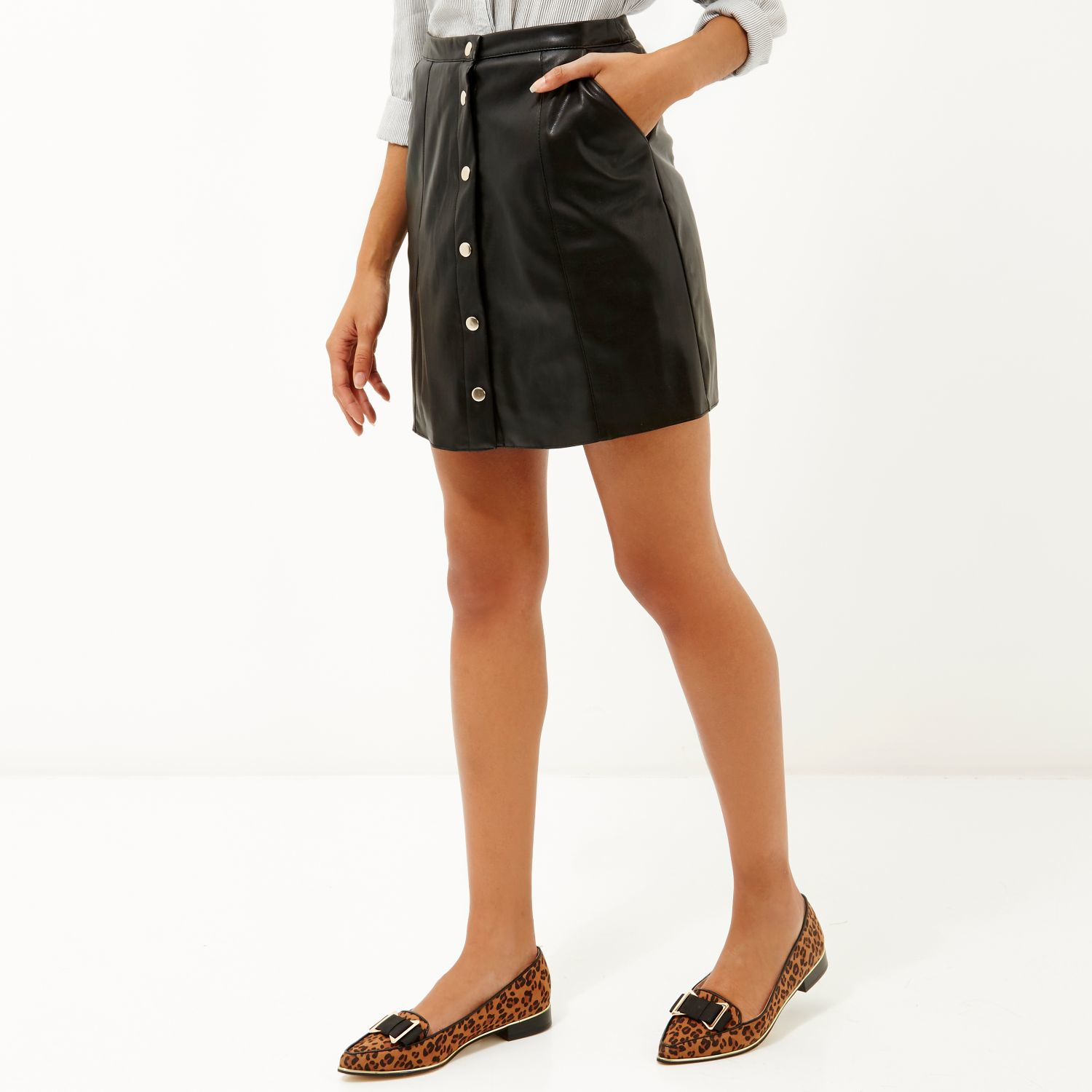 River island Black Leather-look Button-up Skirt in Black | Lyst