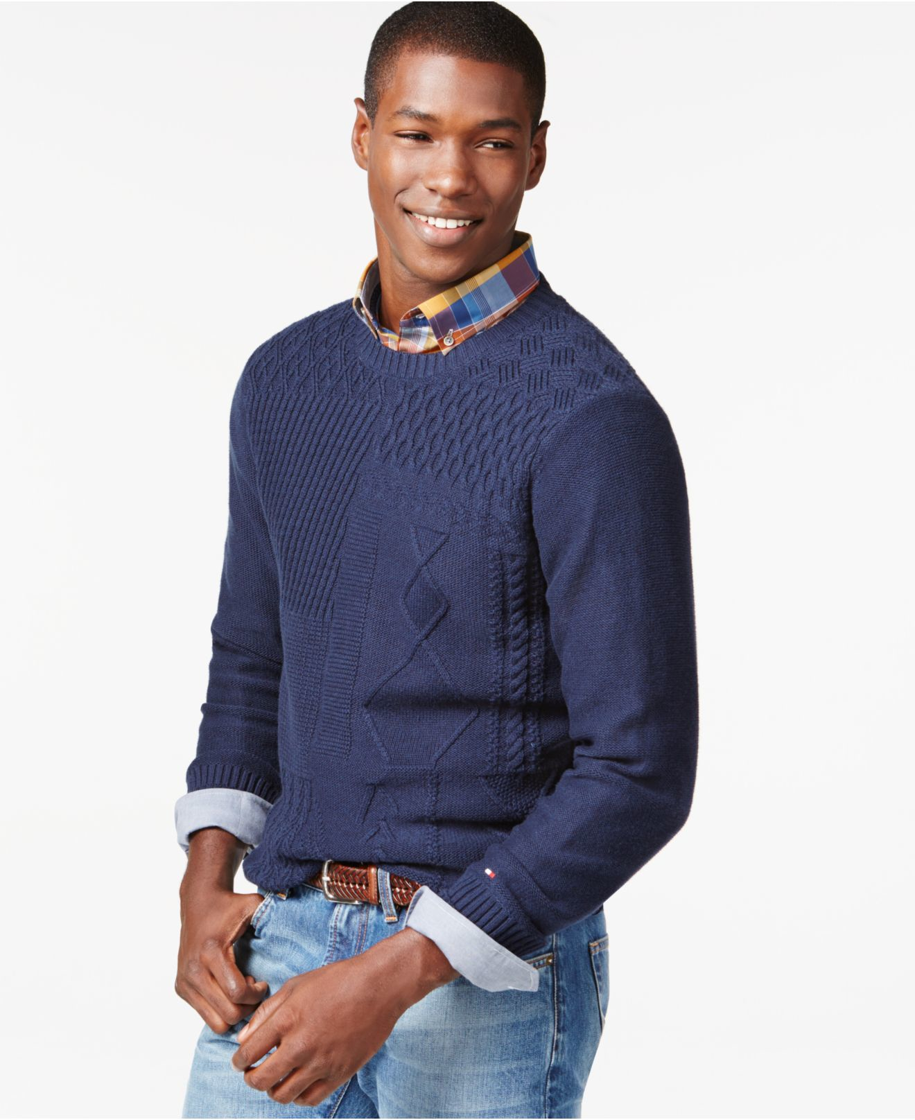 Tommy hilfiger Cornelius Cable-knit Sweater in Blue for Men | Lyst