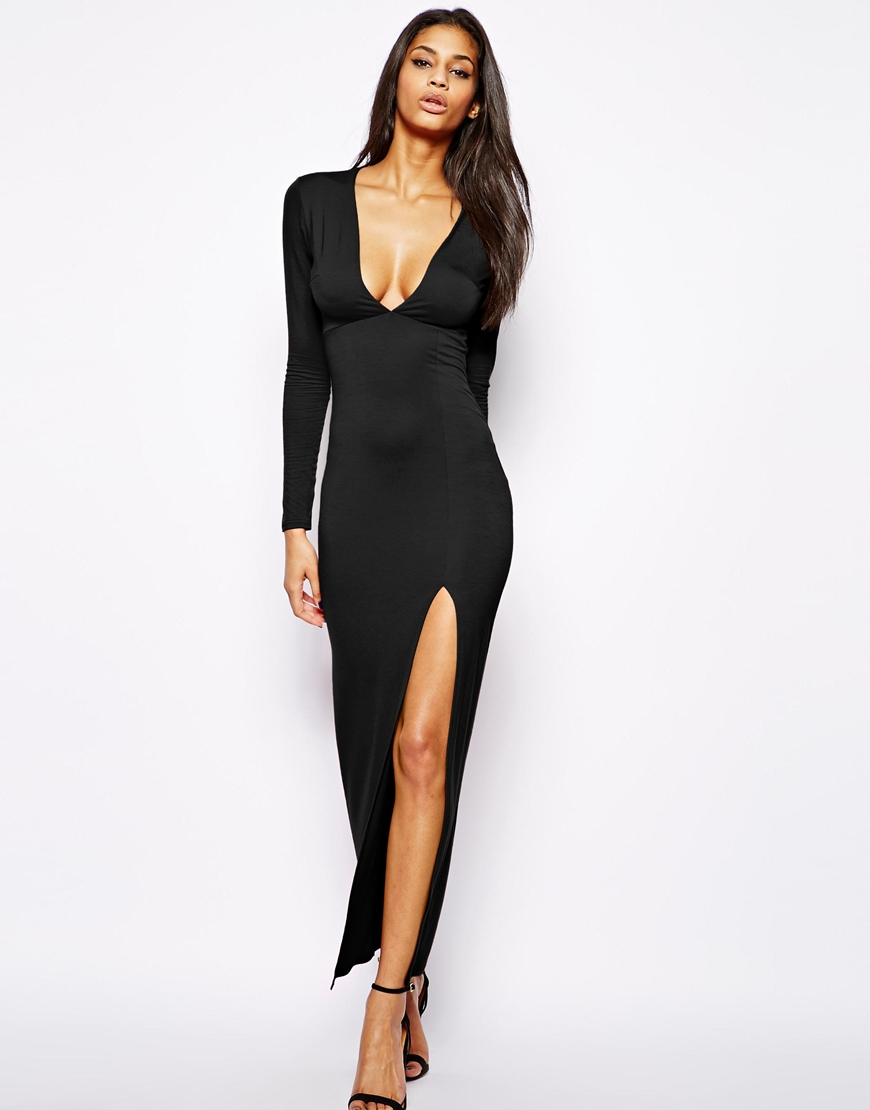 Lyst Asos Deep Plunge Maxi Dress With Front Split In Black