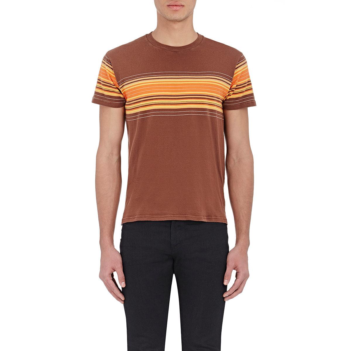 Saint laurent men 39 s sunset striped jersey t shirt in brown for Saint laurent t shirt