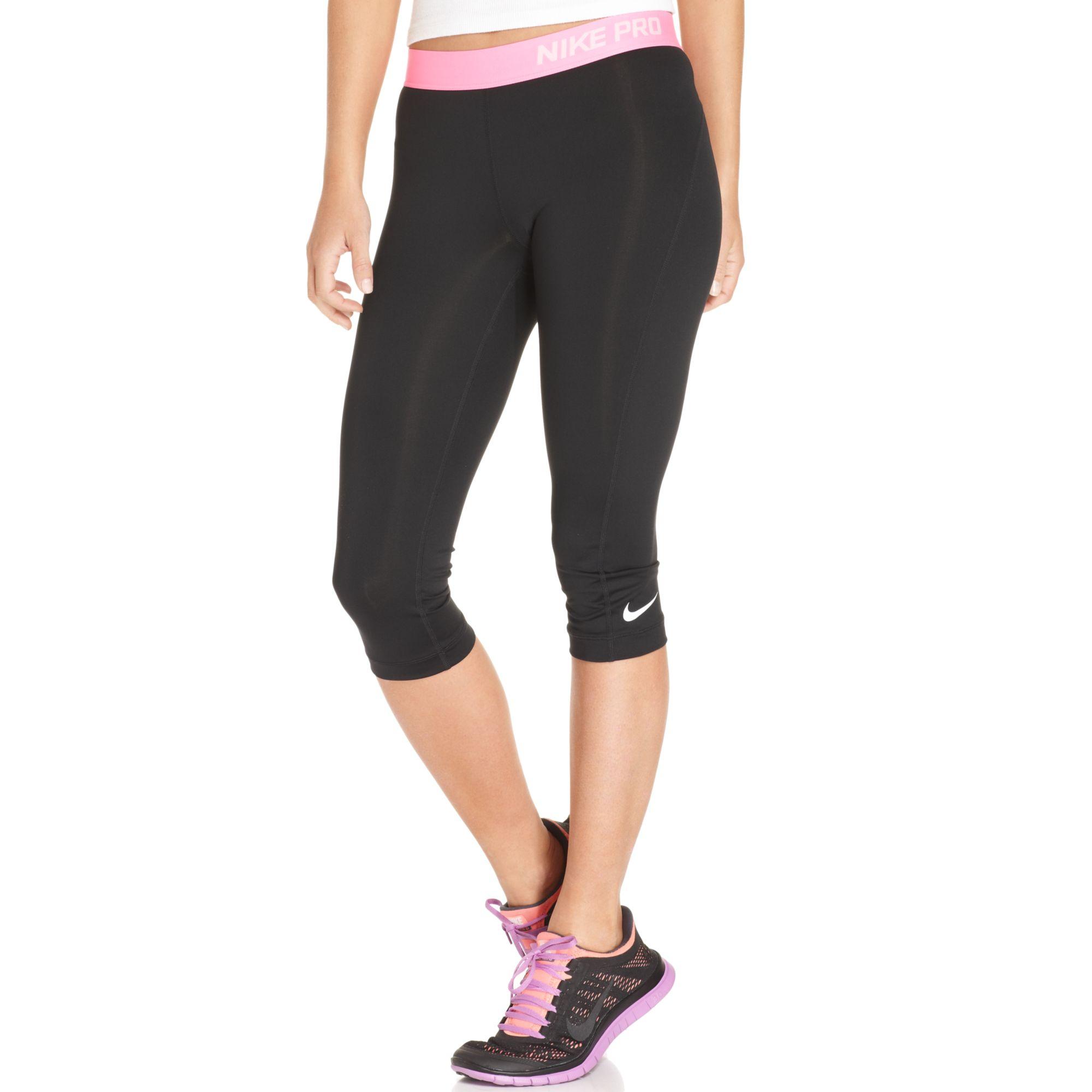 nike pro capri active leggings in pink black pink glow. Black Bedroom Furniture Sets. Home Design Ideas