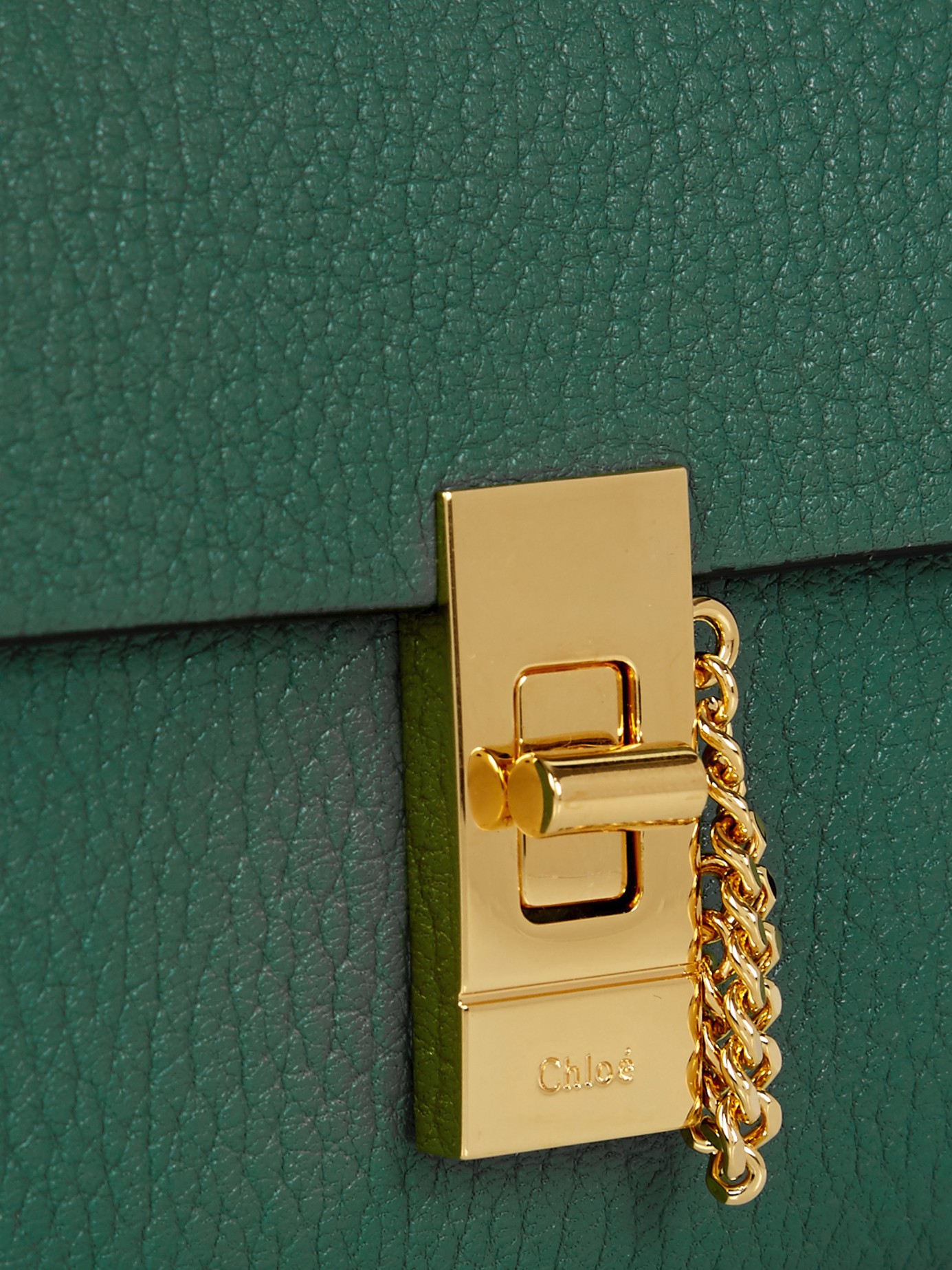 gray chloe bag - Chlo�� Drew Grained-Leather Continental Wallet in Gold (GREEN)   Lyst