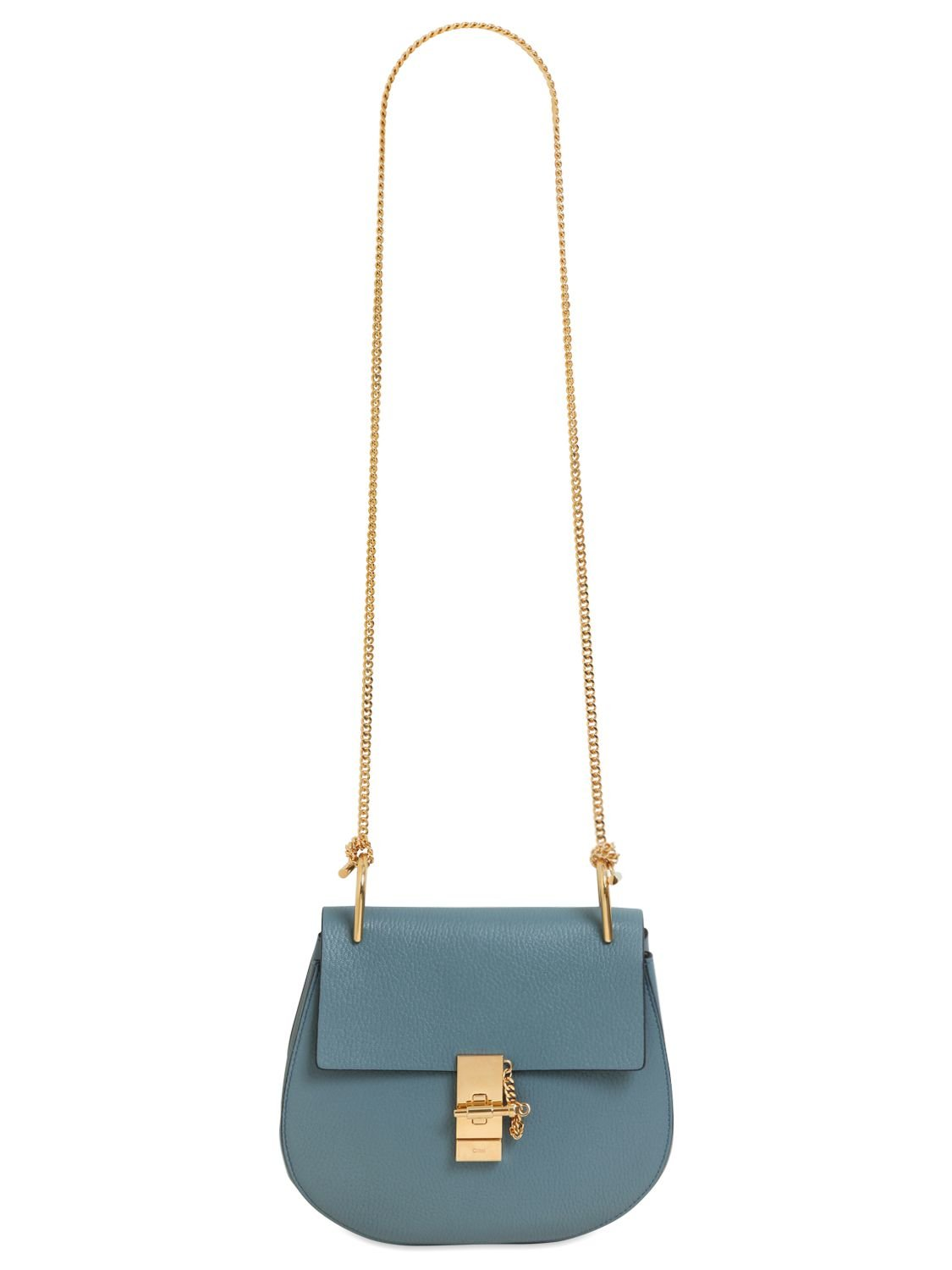 Chlo¨¦ Small Drew Grained Nappa Leather Bag in Blue (CLOUDY BLUE ...