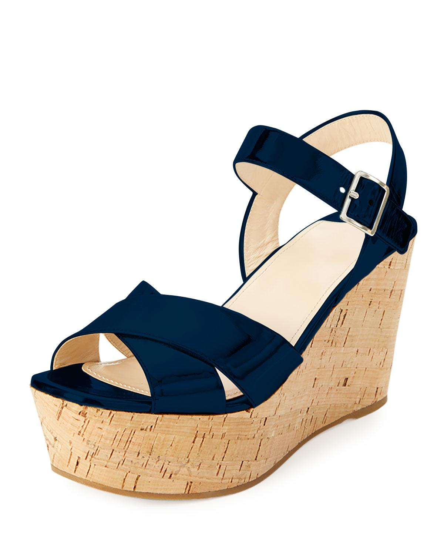 c90aafed3dd Lyst - Prada Patent Leather Cork Wedge Sandal in Blue