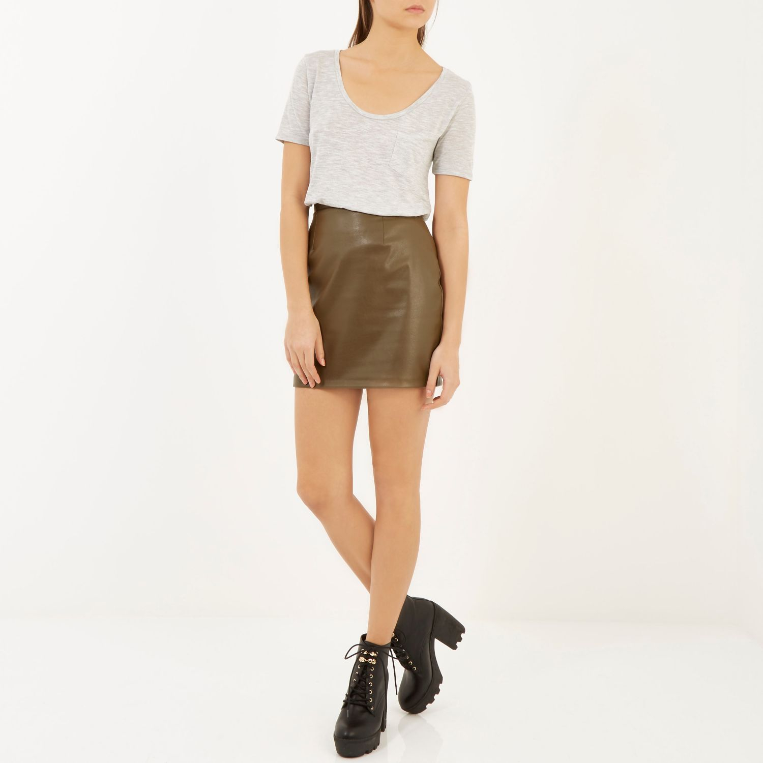 Khaki leather skirt river island – Fashionable skirts 2017 photo blog