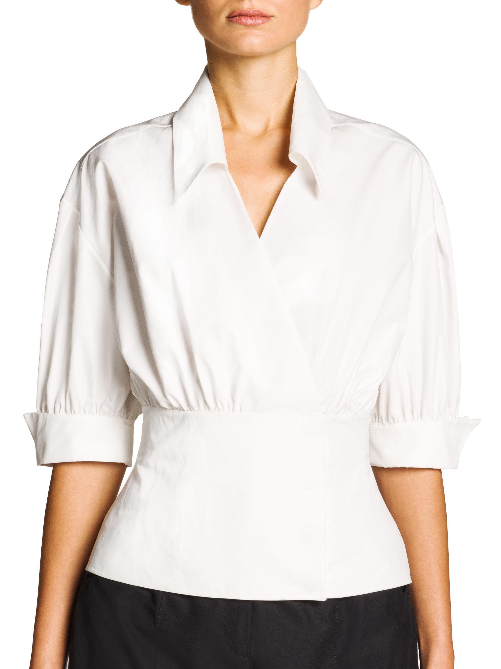 f95b24ccbf906 Lyst - Fendi Cotton Poplin Wrap Blouse in White