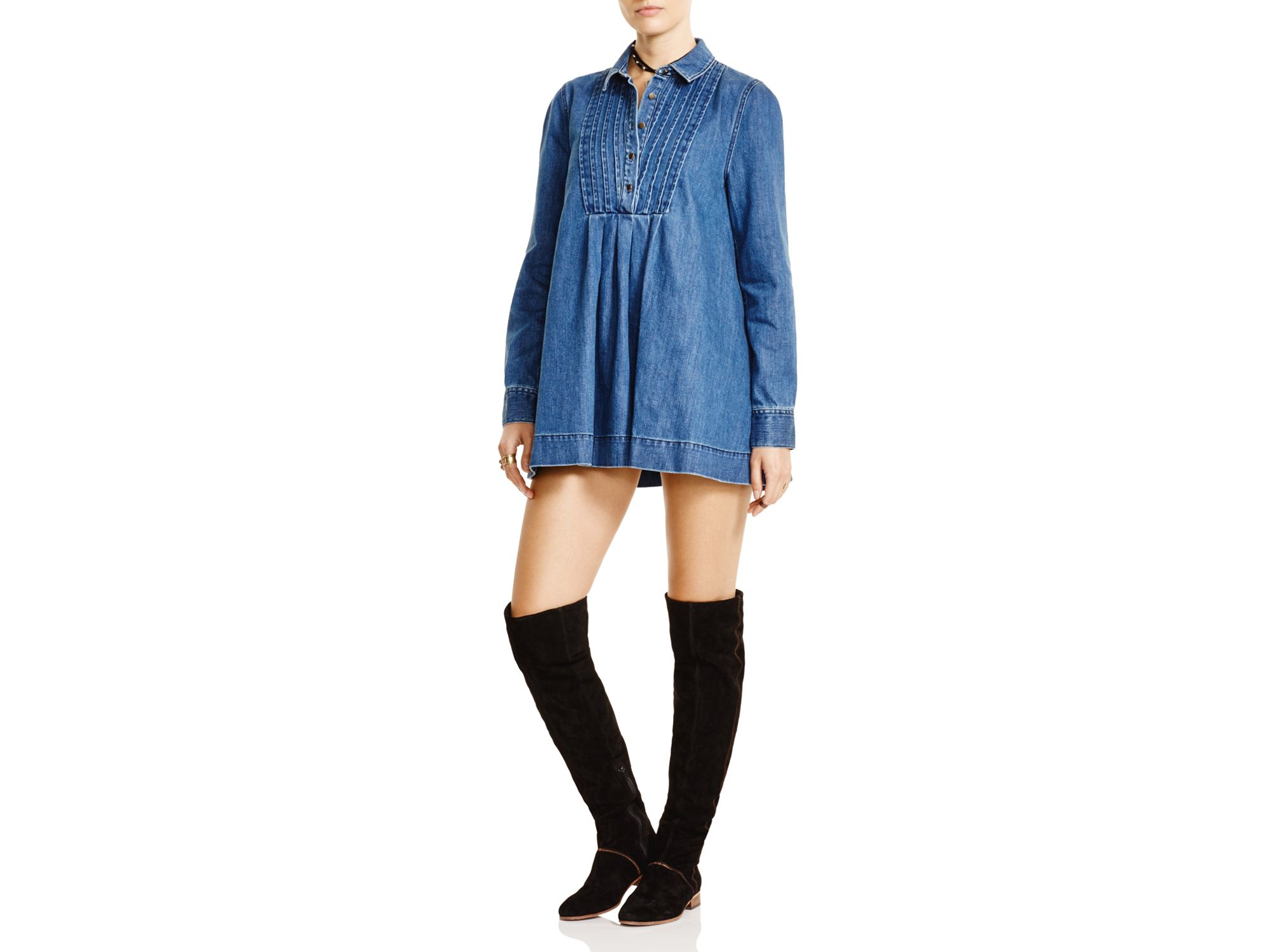 Lyst Free People Baby Blues Denim Tunic in Blue