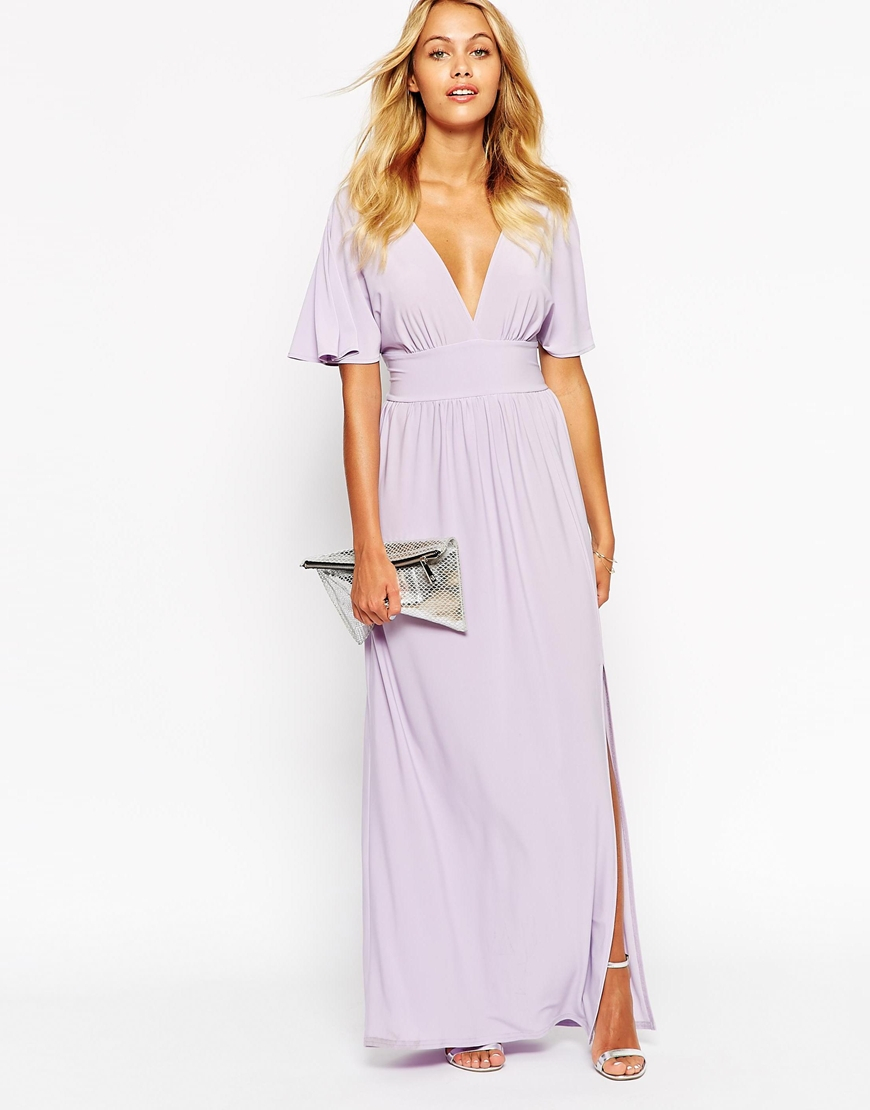 Love Kimono Sleeve Maxi Dress in Purple   Lyst