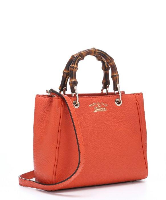Lyst Gucci Orange Leather Mini Bamboo Top Handle Bag In