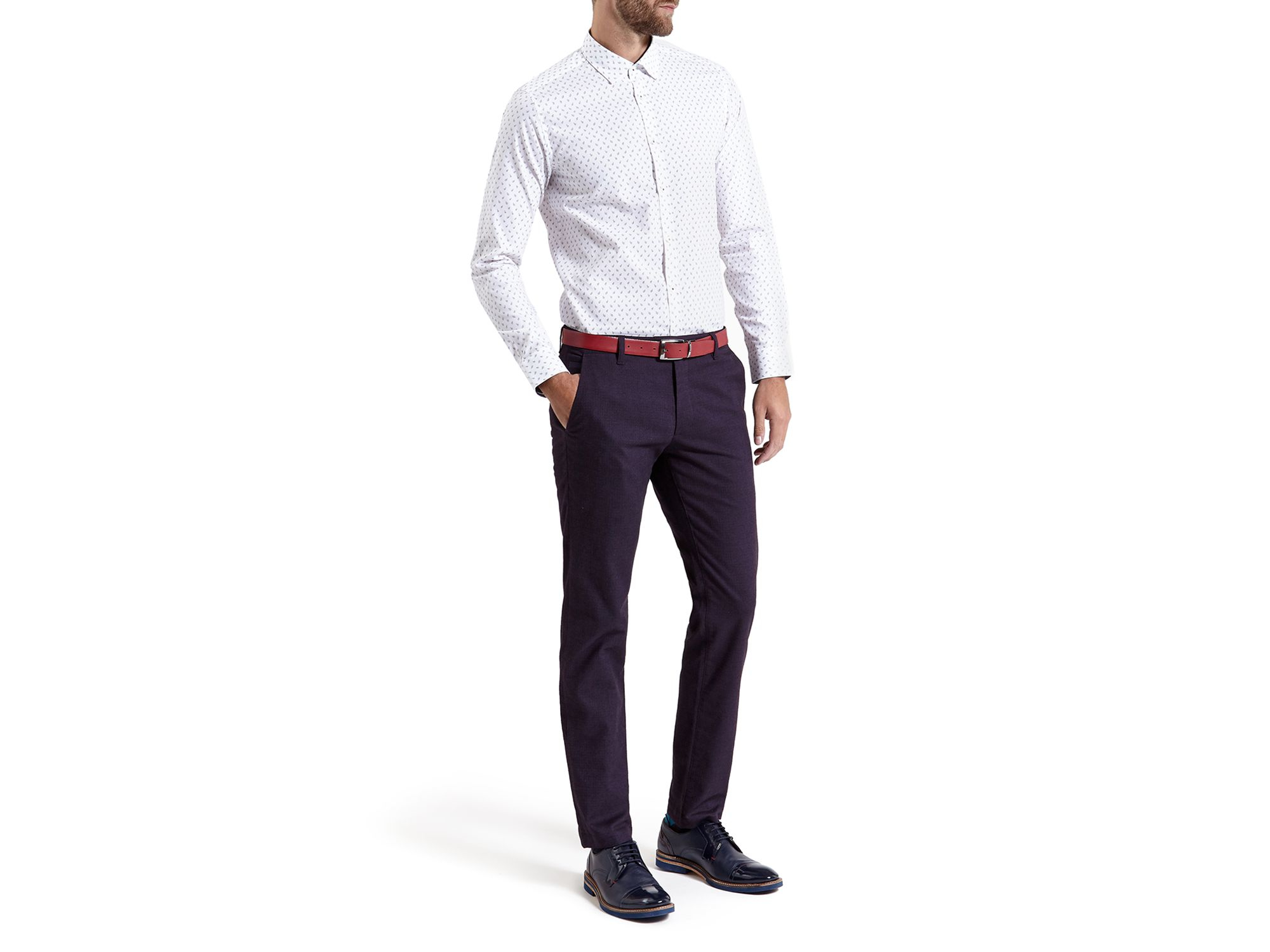 Mini Design Slim Fit Cotton Trousers Ted Baker 847Ejy1