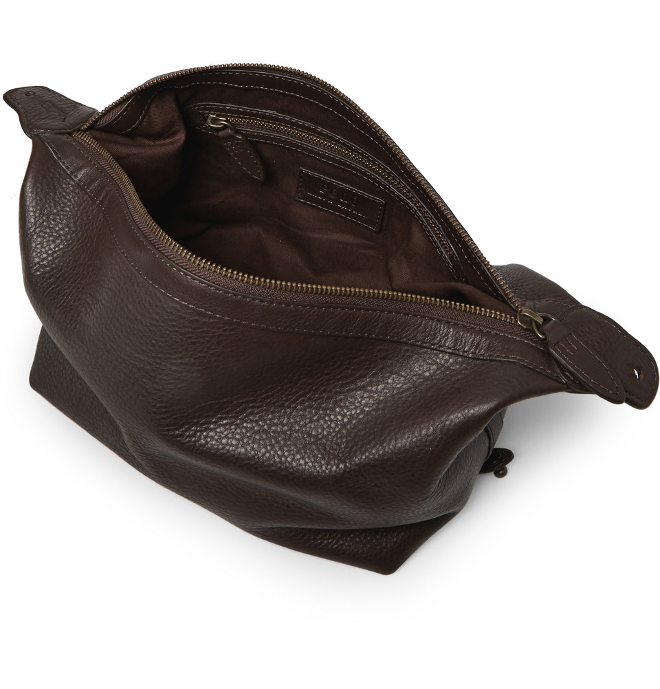 9a6f980f54 Lyst - Polo Ralph Lauren Leather Wash Bag in Brown for Men