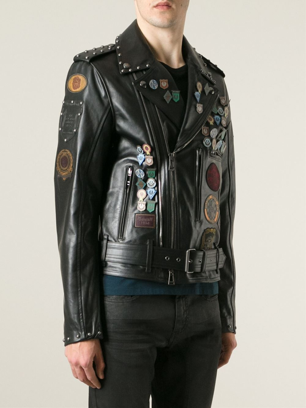 Belstaff Pin And Patch Biker Jacket In Black For Men Lyst