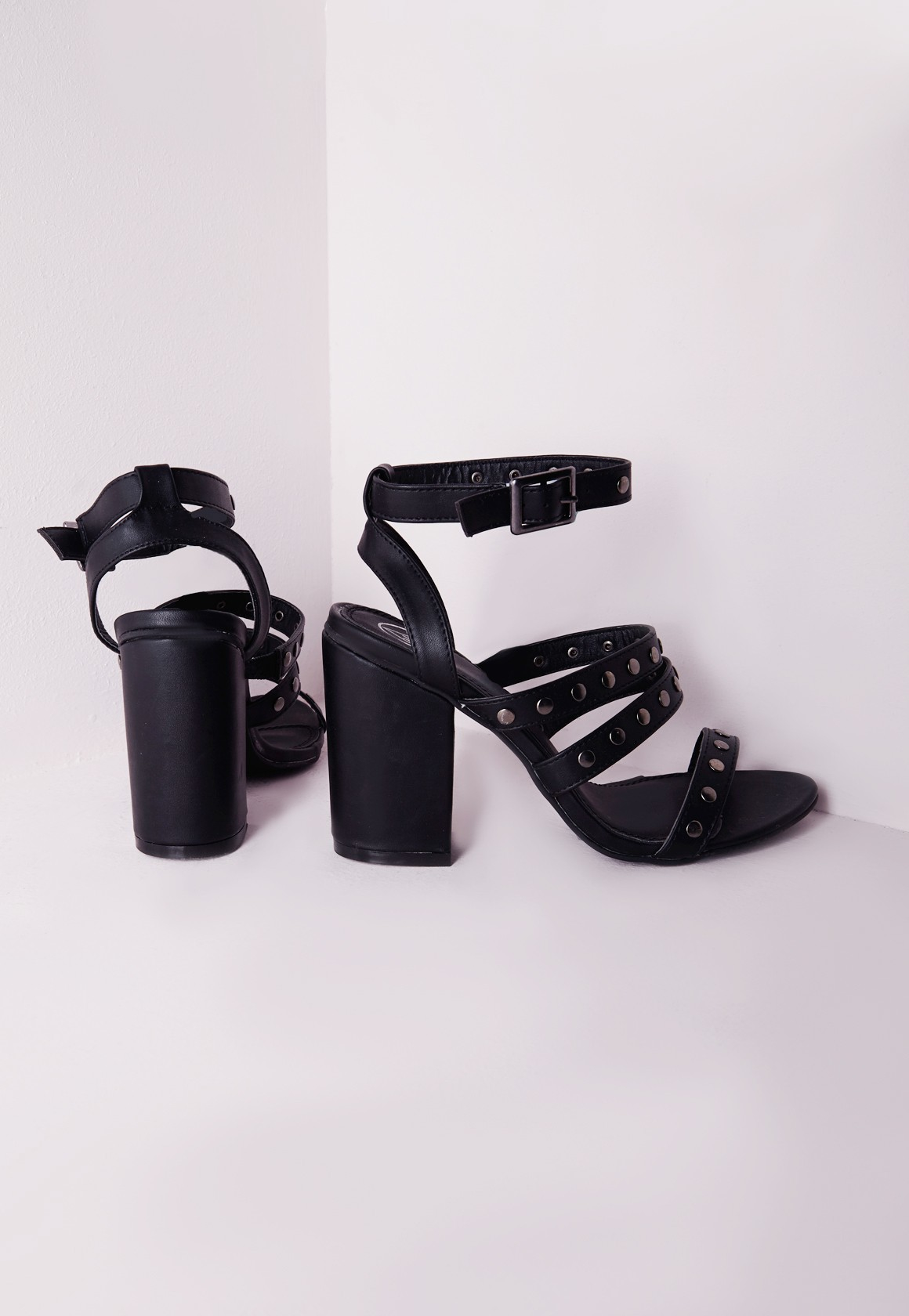 Missguided Studded Strappy Block Heel Sandals Black in Black | Lyst