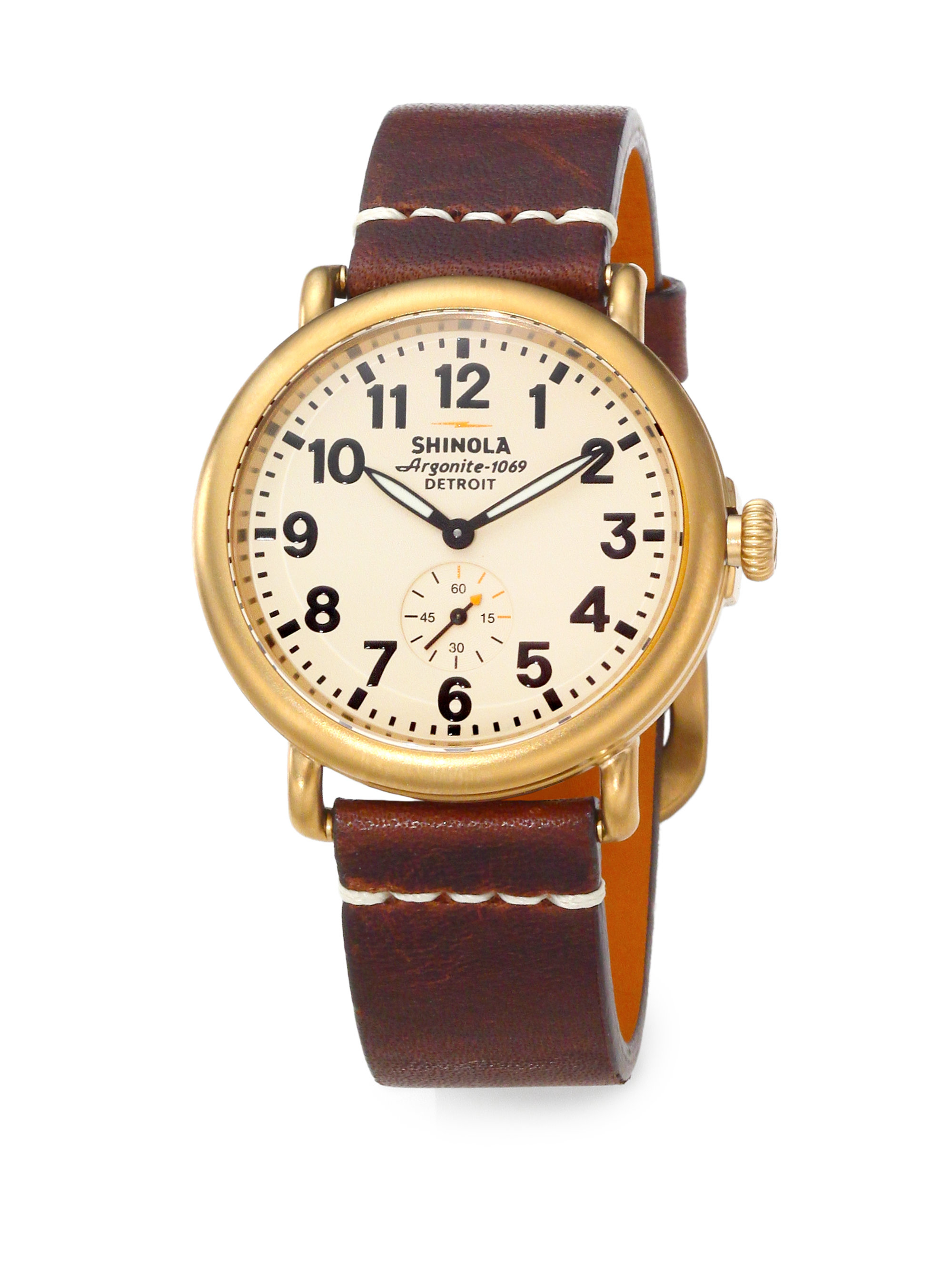 Shinola runwell goldtone pvd stainless steel leather strap watch in brown brown gold lyst for Shinola watches
