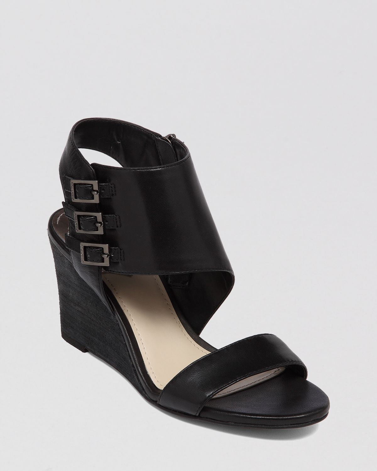 vince camuto open toe wedge sandals lyssia in black lyst
