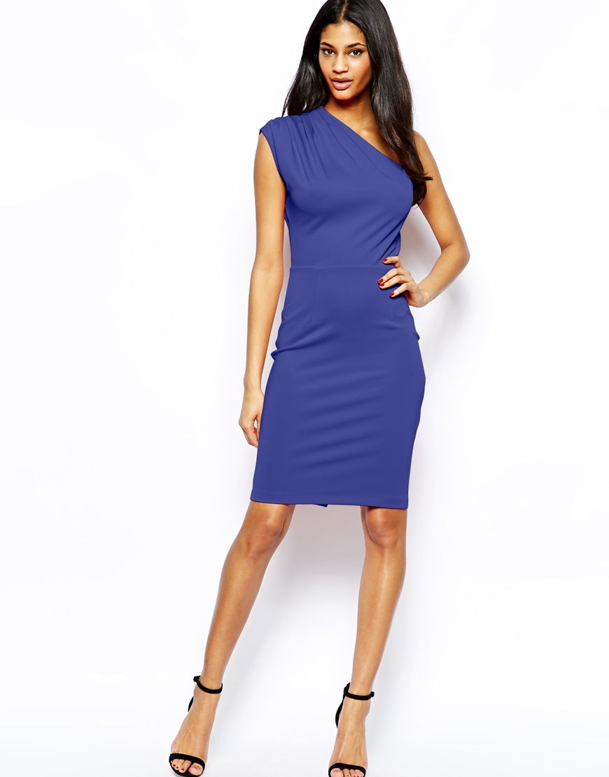Asos Pencil Dress With Pleated One Shoulder in Blue | Lyst