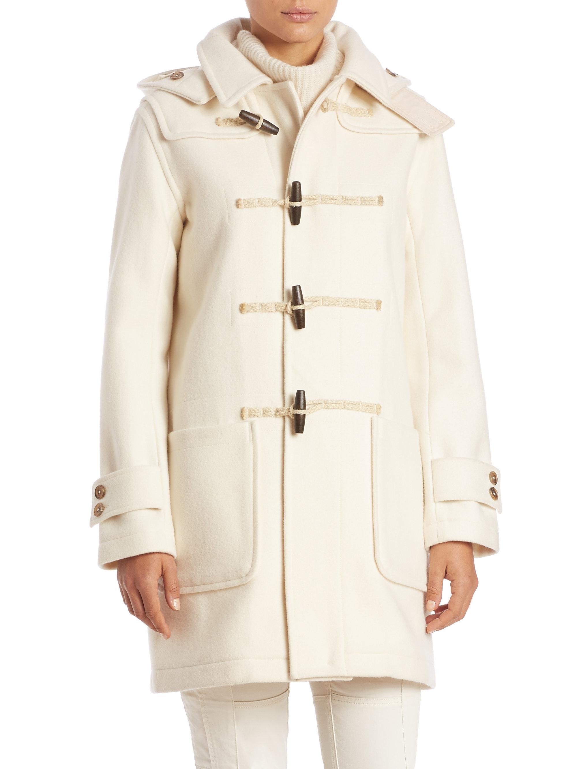 Ralph Lauren Shearling-Collar Plaid Coat .