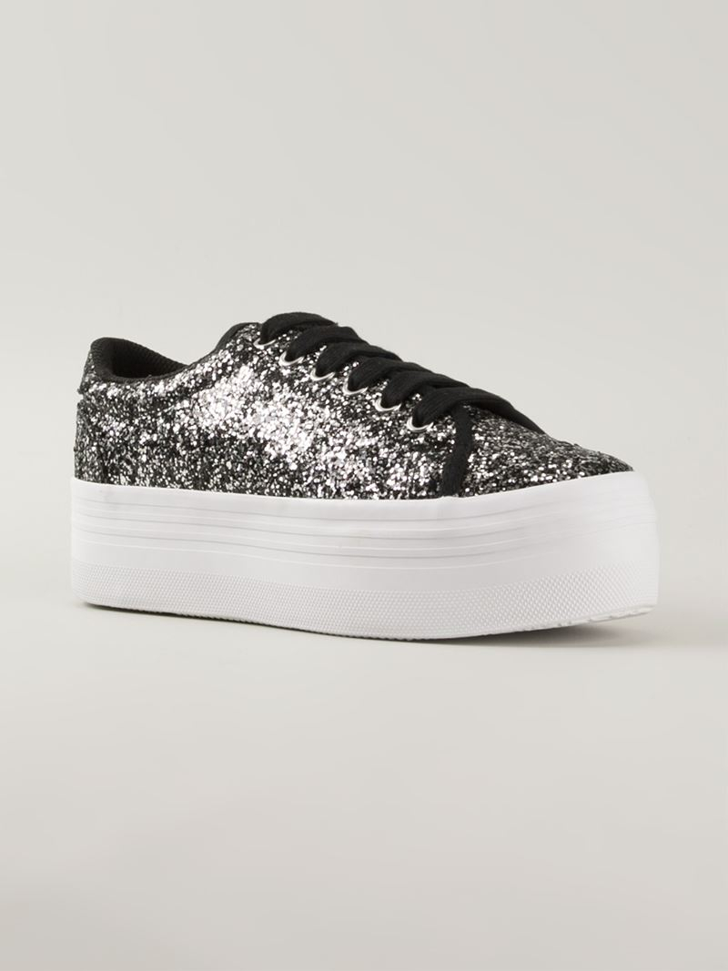 0024223b8f8 Lyst - Jeffrey Campbell Glitter Platform Sneakers in Metallic