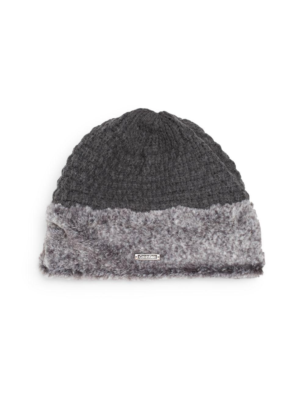 calvin klein faux fur trimmed knit hat in gray lyst