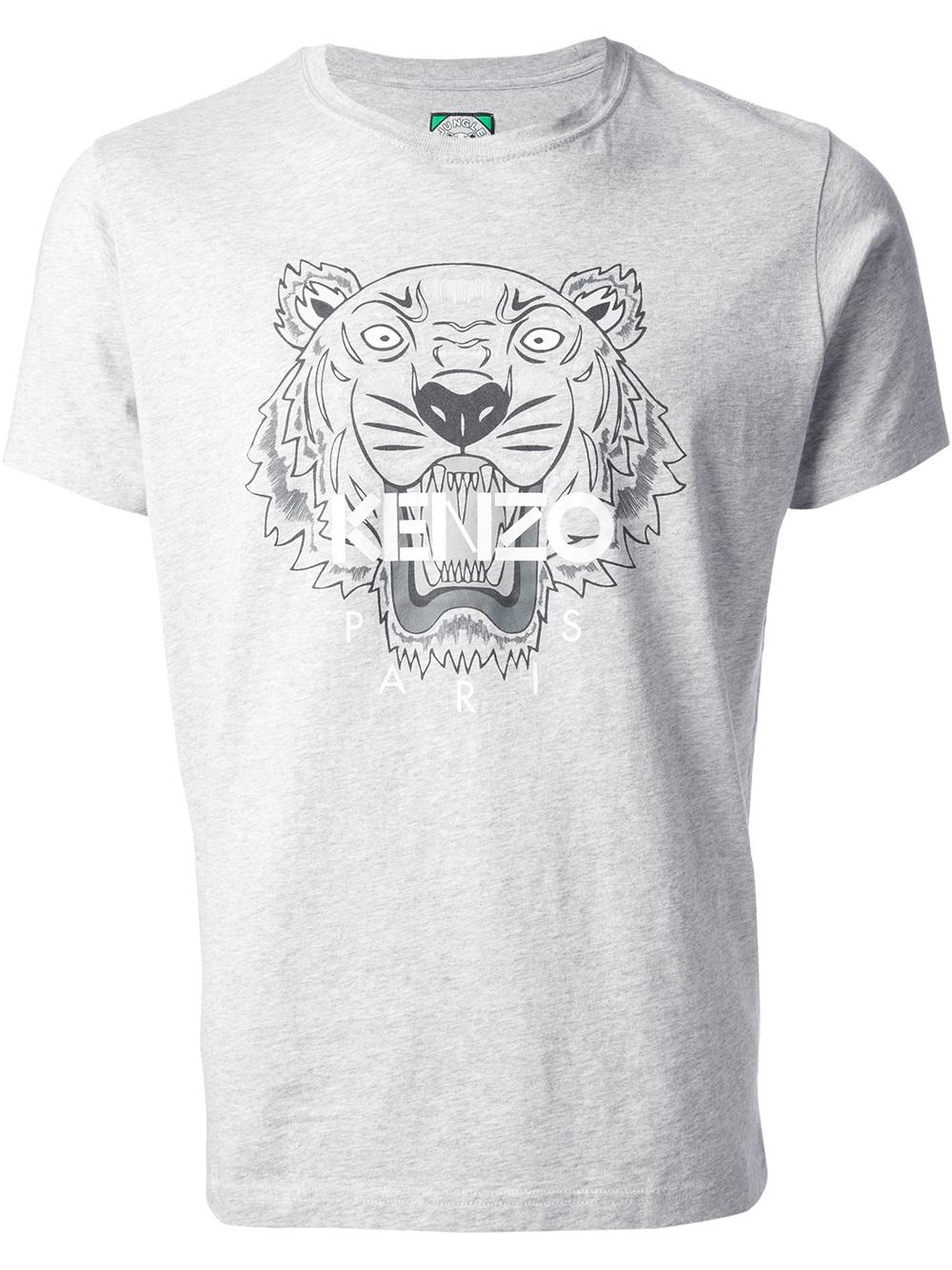 e923cf7c KENZO Tiger Print Tshirt in Gray for Men - Lyst