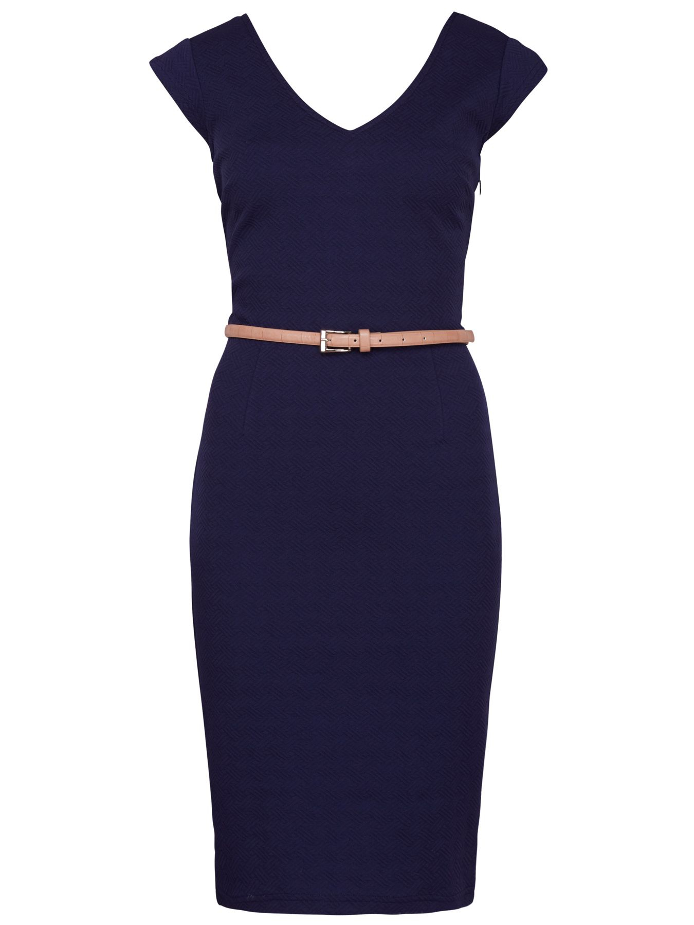 sugarhill kirsty textured ponte dress with belt in blue lyst