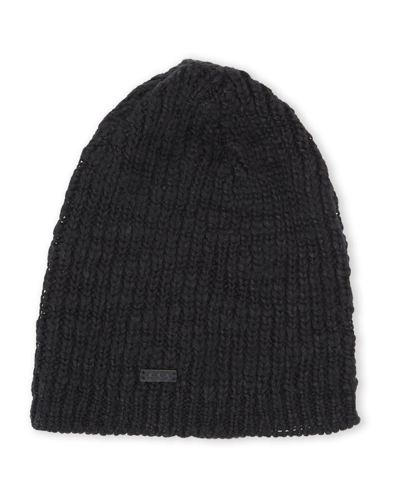 Lyst - John Varvatos Slouchy Knit Beanie in Black for Men 83ba1b9e389