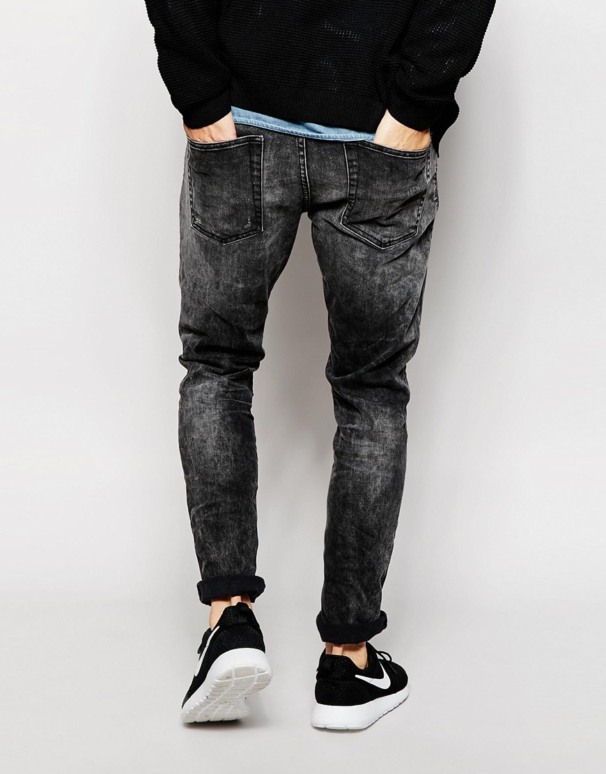 Only & sons Acid Wash Black Jeans In Slim Fit in Gray for Men | Lyst