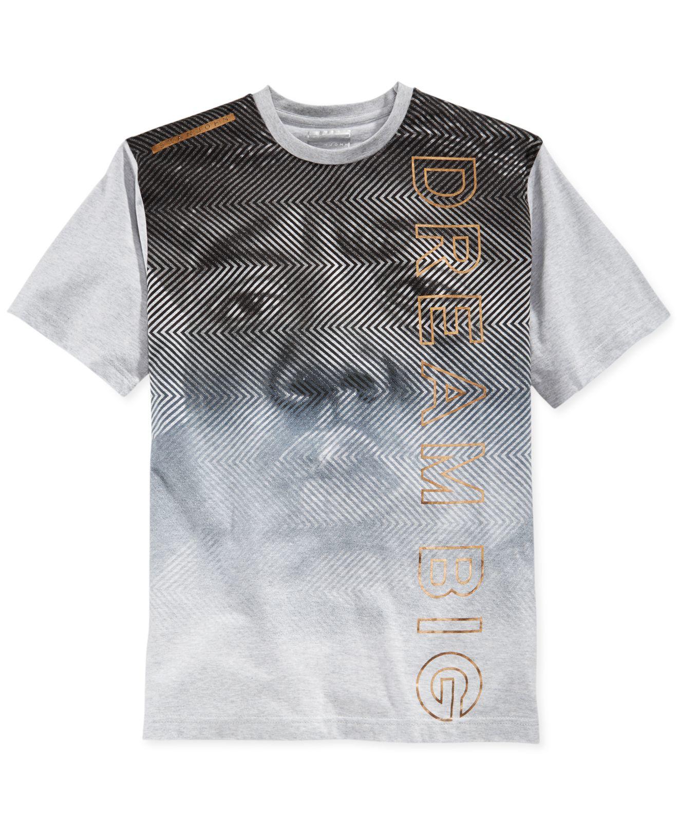 74632aa4387 Lyst - Sean John Men s Biggie Herringbone Graphic-print T-shirt in ...
