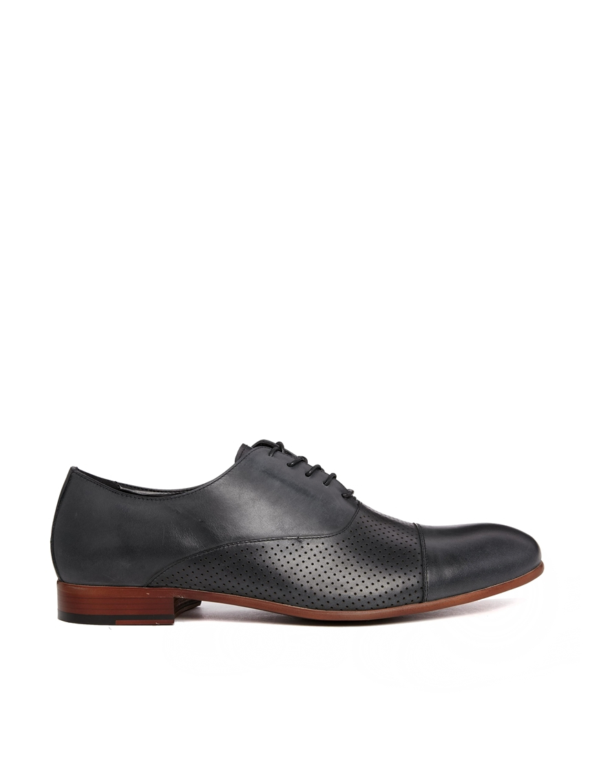 aldo clibon leather perf oxford shoes in black for lyst