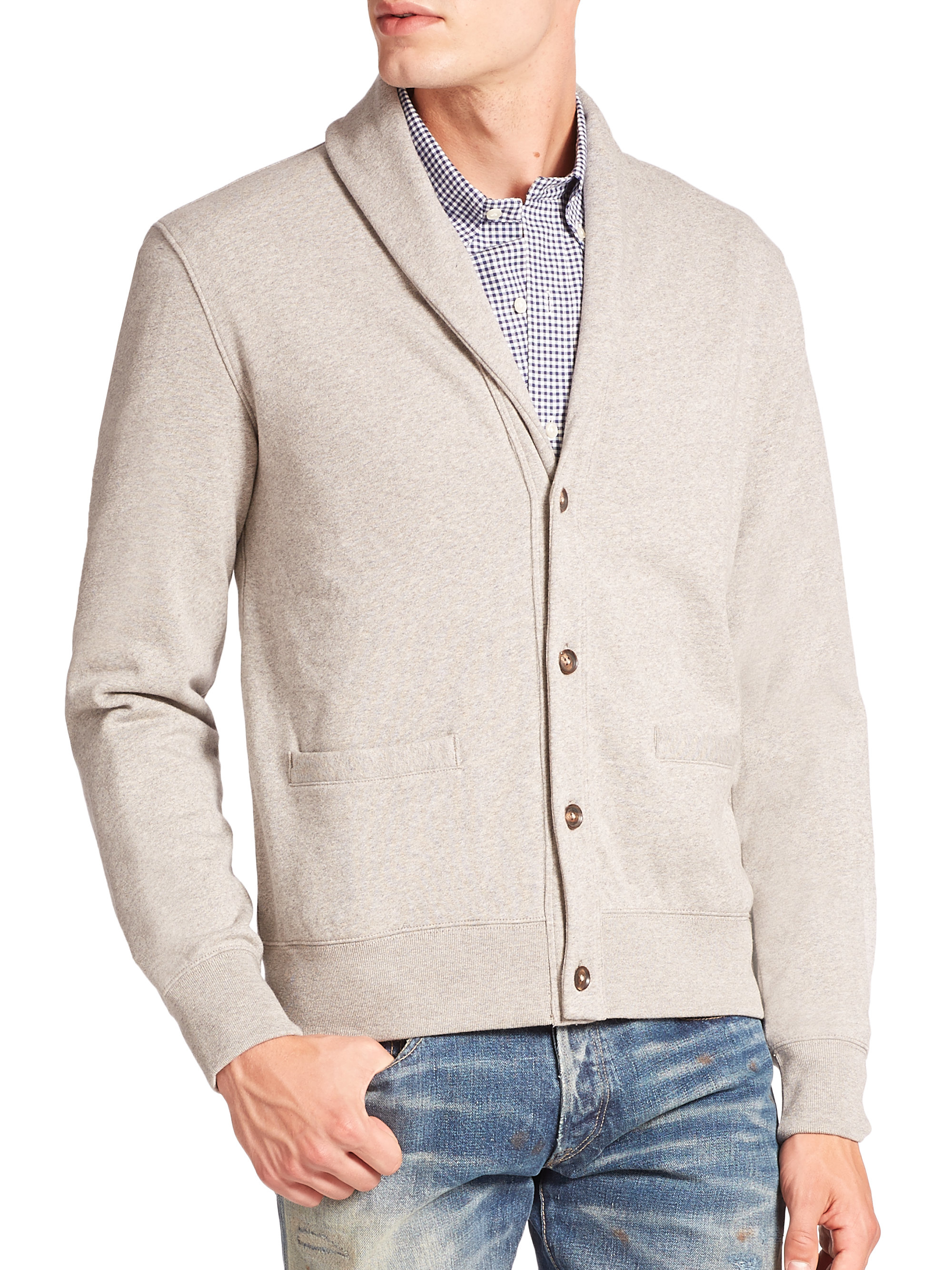 Polo ralph lauren Shawl Collar Fleece Cardigan in Gray for Men | Lyst