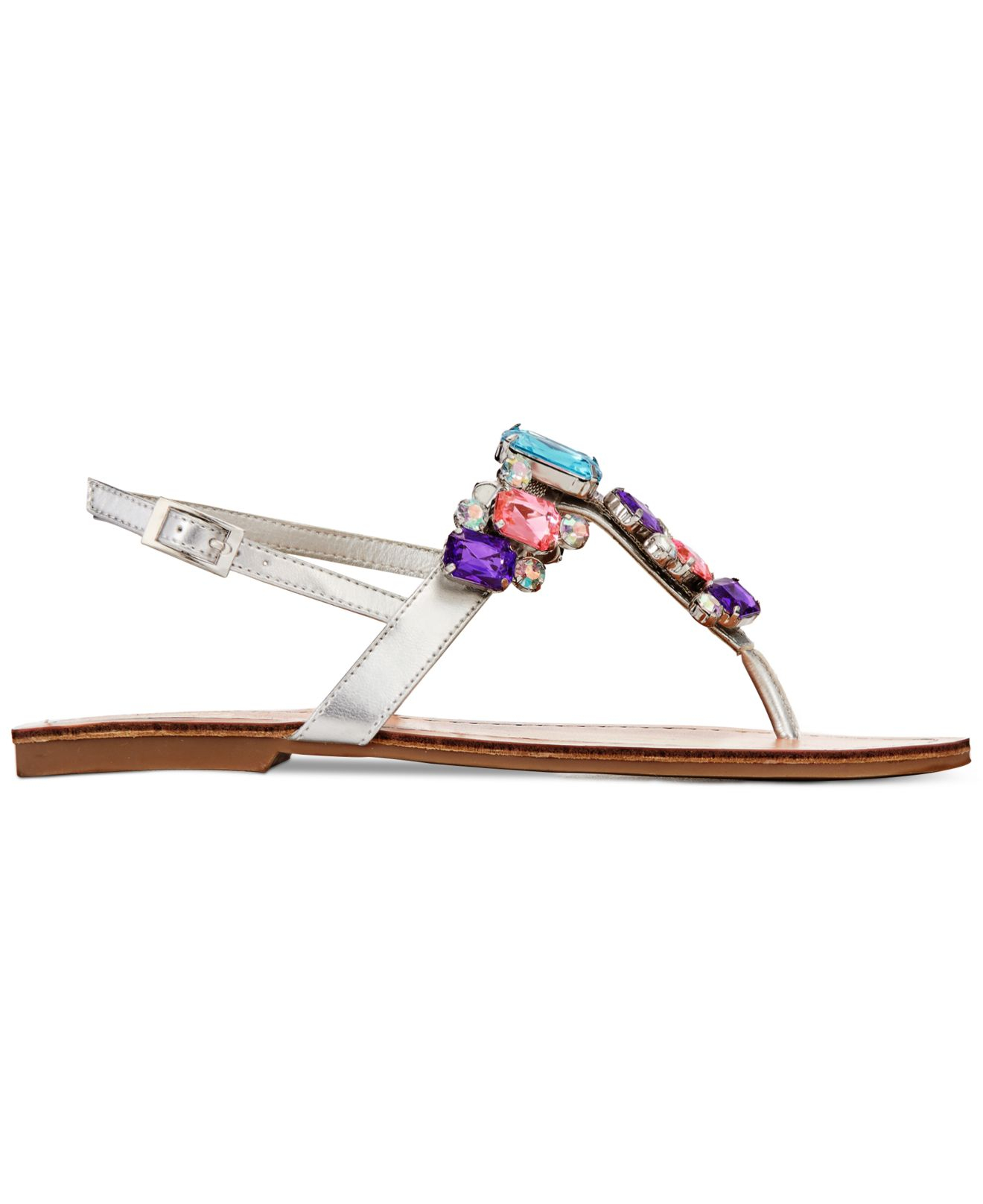 7af55eb887ee9c Lyst - G by Guess Kyli Jeweled Flat Sandals in Metallic