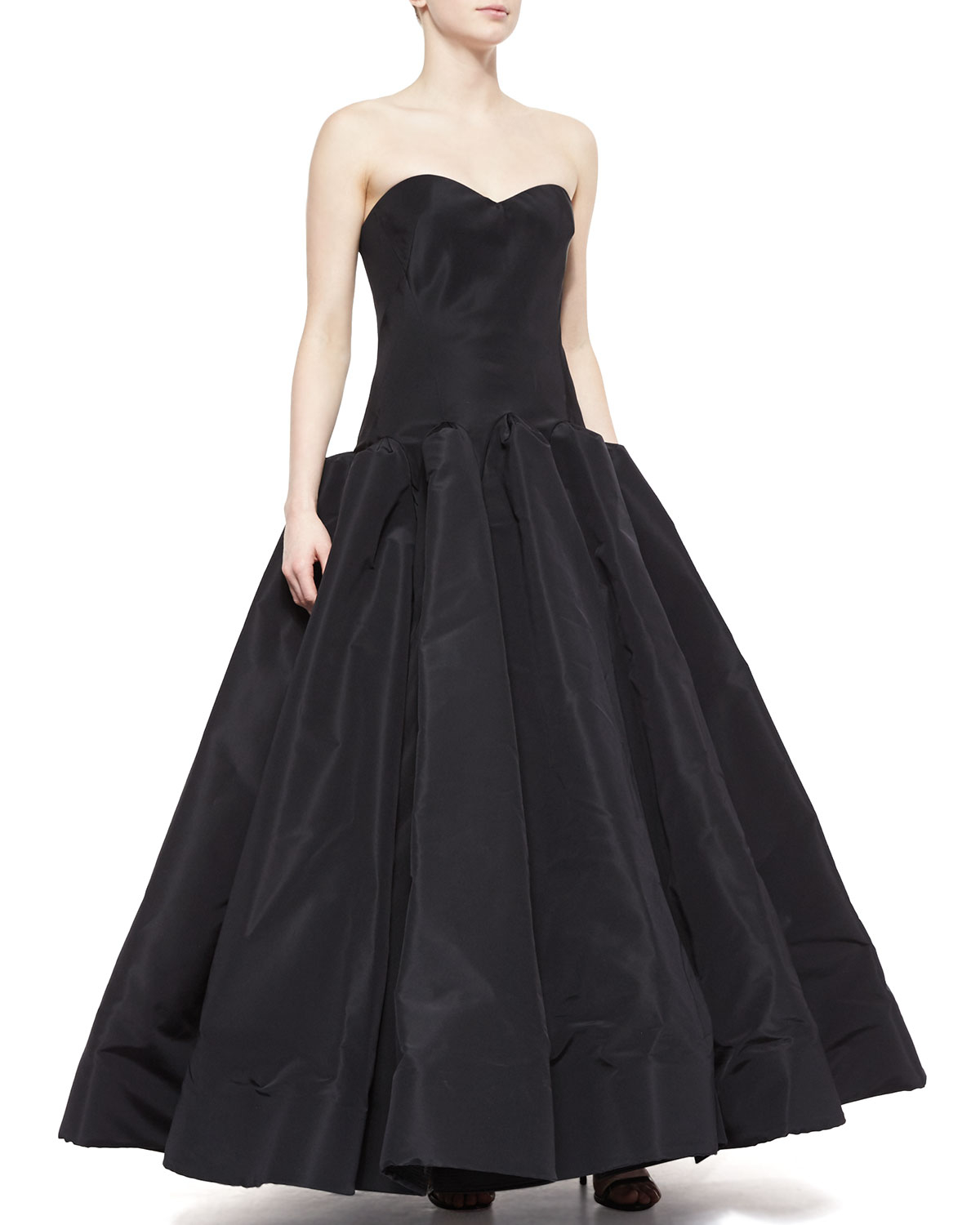 Lyst - Zac Posen Strapless Silk Ball Gown in Black