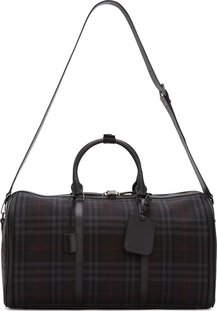 Lyst - Burberry Black Check Alchester Duffle Bag in Black for Men c073f22677