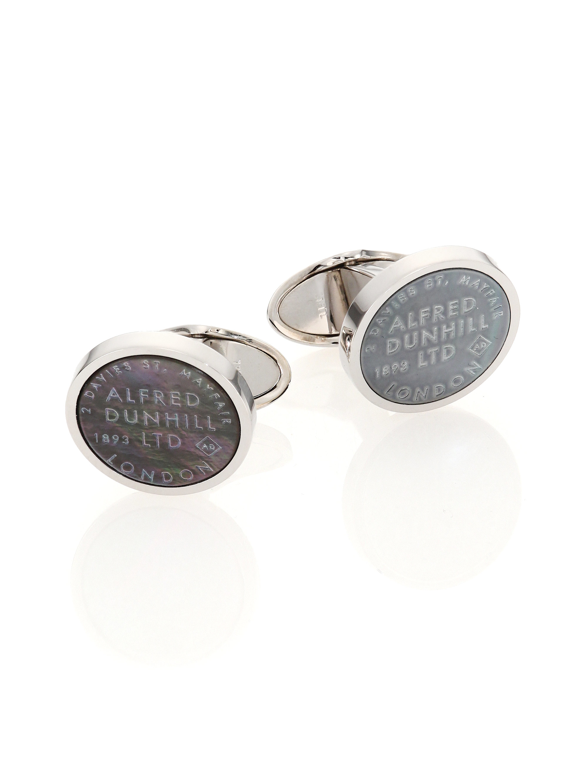 Dunhill Sterling Silver, Enamel And Diamond Cufflinks - Silver