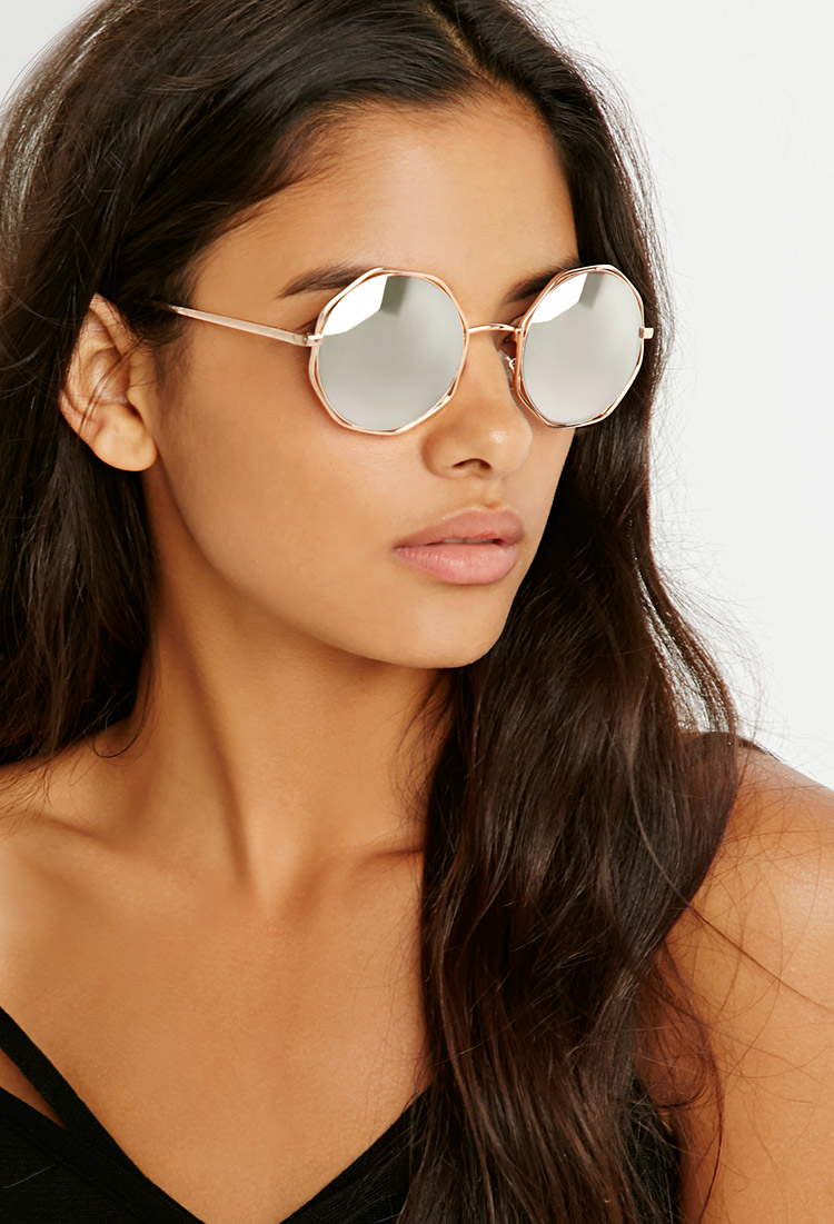 6a287a01a67 Lyst - Forever 21 Octagon Round Sunglasses in Gray